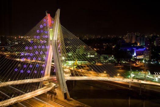 Awesome bridge lit up at night
