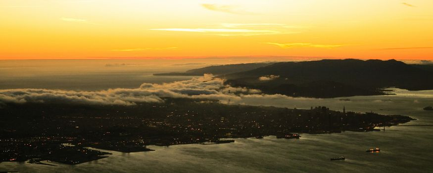 Golden Gate and San Francisco at sunset