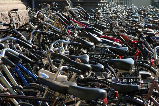 Hundreds of bikes on sidewalk