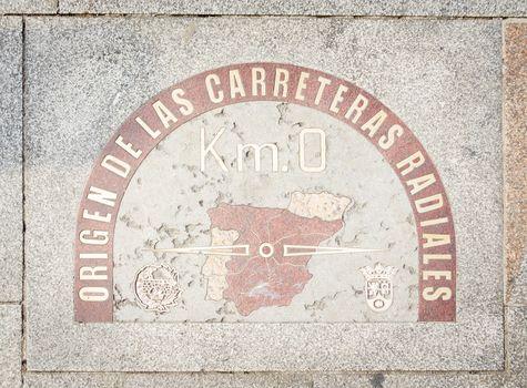Kilometer zero point sign in Puerta del Sol Madrid