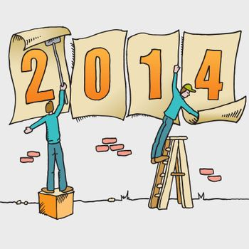 Whimsical drawing to bring in the new year for web or print use
