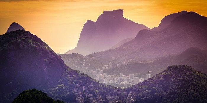 Mountain range at dusk