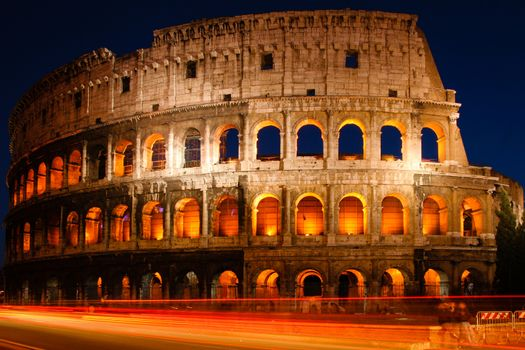 Night shot of the Coliseum in Rome, Italy