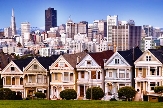San Francisco skyline from Alamo Square