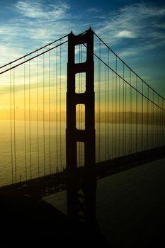 Silhouette of a suspension bridge