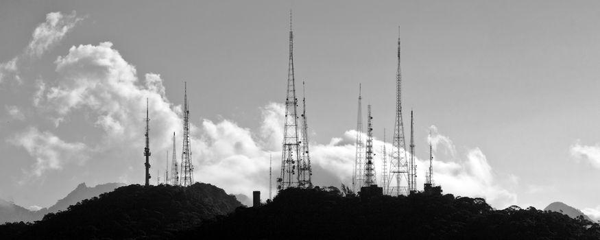 Silhouette of radio antennas