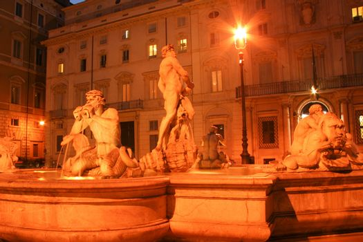 Statues at a fountain