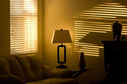 Sunlight through window blind