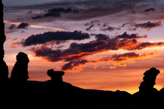 Sunset over rock formations