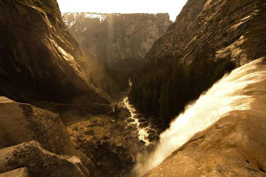 High angle view of a waterfall in a valley, Vernal Falls, Yosemite National Park, California, USA