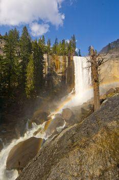 Waterfall in a forest, Yosemite Mist Trail, Vernal Falls, Yosemite National Park, California, USA