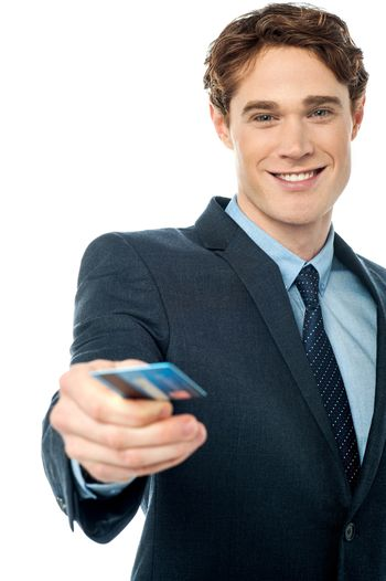 Corporate man offering you credit card