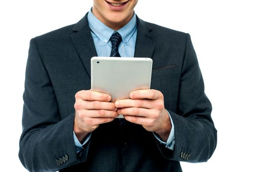 Businessman browsing on tablet pc