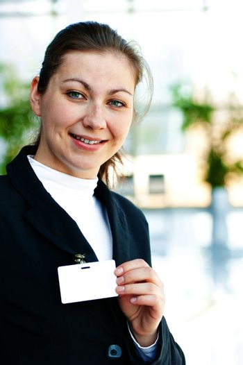 Business lady represents on her Blank ID Badge