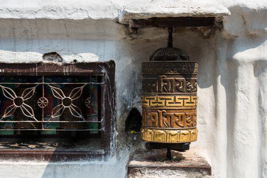 Prayer wheel in Kathmandu, Nepal