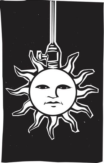 Image of a sun face connected to a hanging electrical socket.