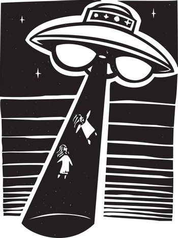 Alien AWoodcut style image an alien abduction at night with a flying saucer.