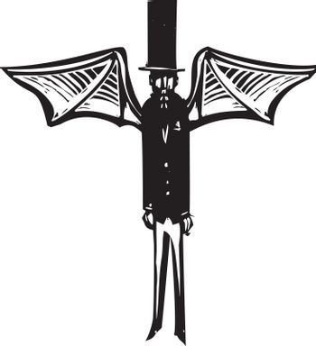 Woodcut style Victorian dressed demon with wings and a top hat.