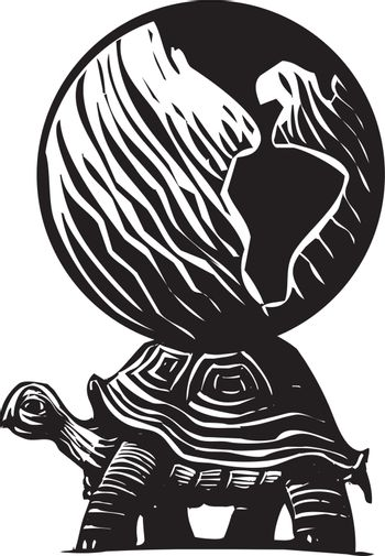 Woodcut style myth image of a turtle carrying the world on its back.