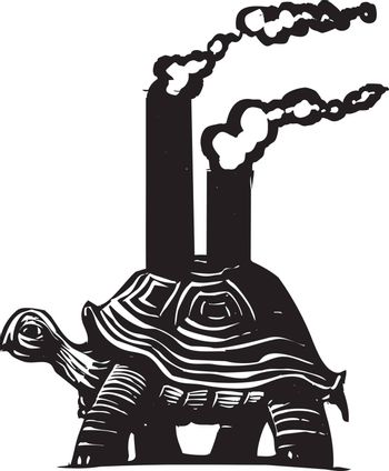 Woodcut style image of a turtle with smokestacks on his back.