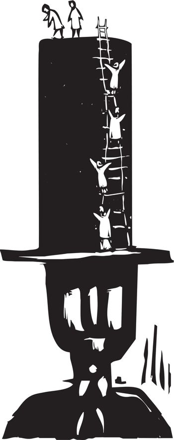 Woodcut style image of people climbing to the top of a bankers top hat.