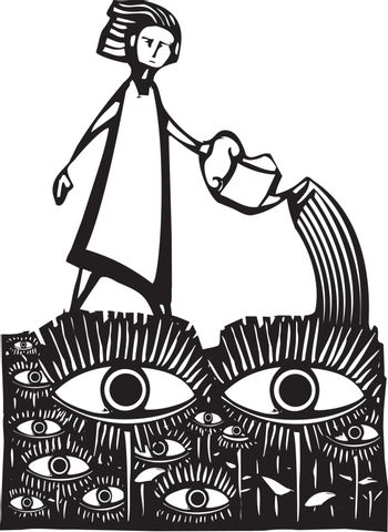 Woodcut style image of a girl watering a garden of watching eyes.