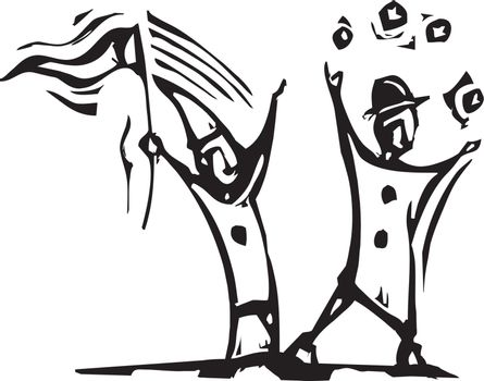 Simple expressionistic woodcut style clowns juggle and wave flags.