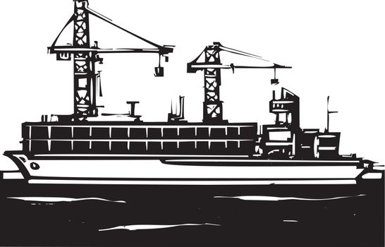 Woodcut Style image of a container ship and cranes loading at a dock.