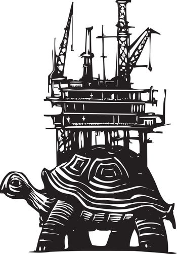Woodcut style turtle carrying an oil drilling rig on its back.