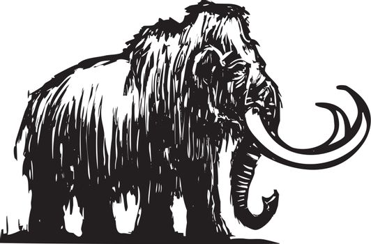 Woodcut style ancient wooly mammoth from the ice age.