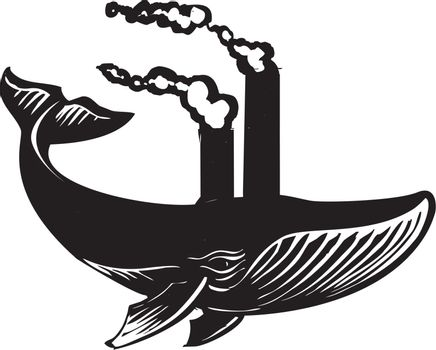 Woodcut style image of a swimming whale with factory smokestacks coming out of its back.
