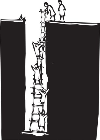 Woodcut style image of people climbing out of a deep hole using a ladder.