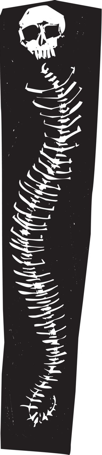 Woodcut style expressions horror ghost image of human skull on a snake skeleton.