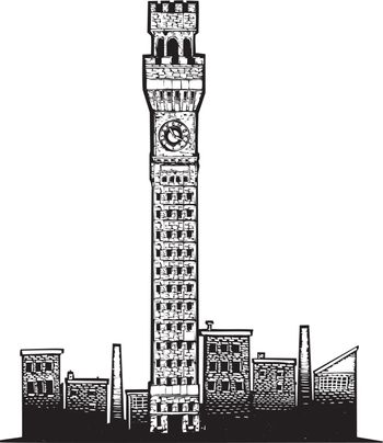 Woodcut style image of one of the Iconic towers in Baltimore Maryland.
