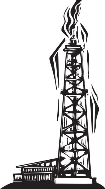 Woodcut Style image of an Oil drilling well for petroleum exploration