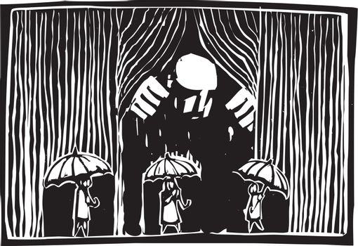 Woodcut style image of a giant man pulling back a curtain of rain over three people with umbrellas.
