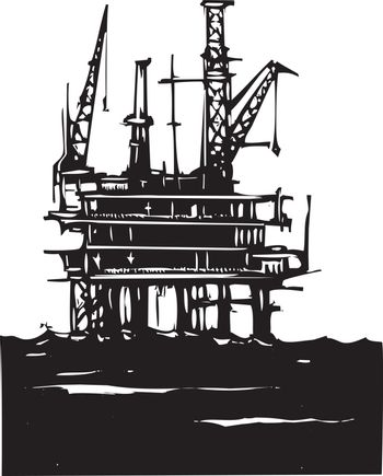Woodcut Style image of a Deep sea offshore oil rig drilling on the ocean