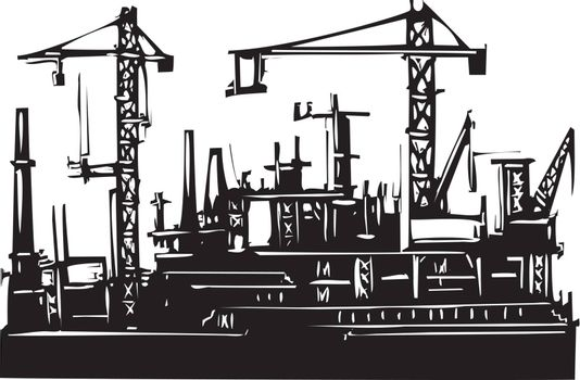 Woodcut Style image of a ocean port with cranes and construction.