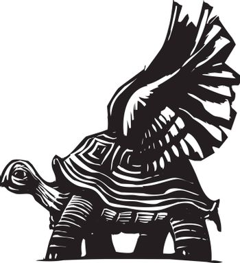Woodcut style turtle with spread wings getting ready to fly.