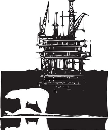 Woodcut style image of a polar bear and an oil rig in the arctic.