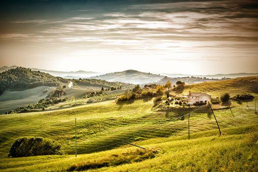 Evening mood landscape Tuscany
