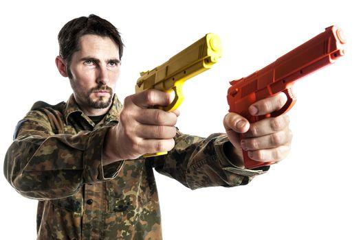 Self defense instructor with training gun