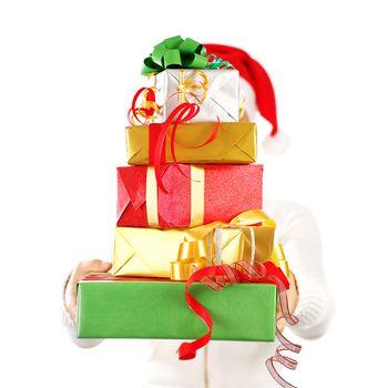 Santa girl with many gifts