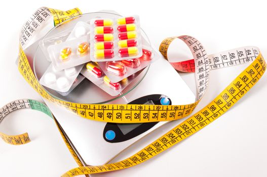 tape-measure and medicament about kitchen scale