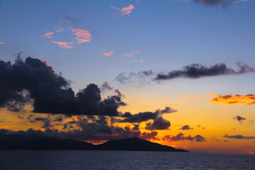 Amazing colorful sunset in Seychelles