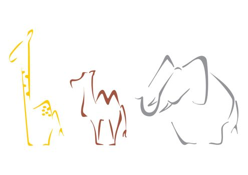 Giraffe camel and elephant at sketch