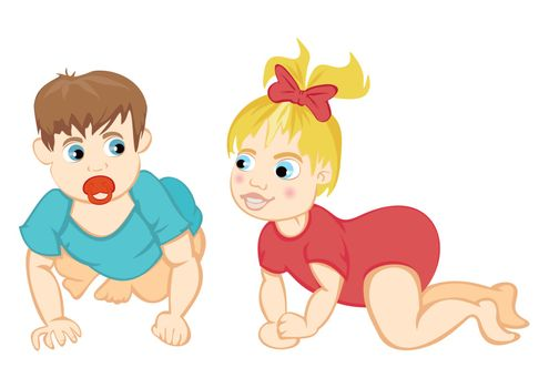 Illustration of cute baby boy and girl