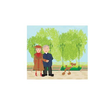 Senior couple walking in sunny day with a dog