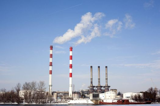Chemical plant chimneys