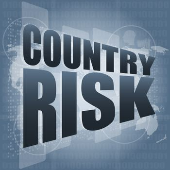 country risk words on digital screen with world map
